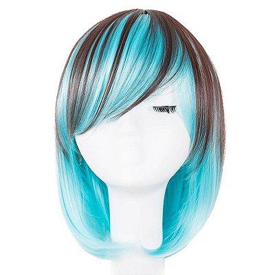 Peruca Lolita - Castanho com Azul