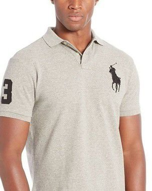 RALPH LAUREN CUSTOM-FIT BIG PONY POLO SHIRT - CINZA c606bb23bf1