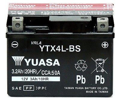 Bateria Yuasa YTX4L-BS |12V - 3Ah| CG125 KS, NX 125 Bros KS, Fan 125, CG 125 Cargo, Biz 100, TTR125, Jog50, AE50, AY50