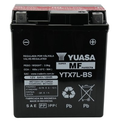 Bateria Yuasa YTX7L-BS |12V - 6Ah| CBX 250 Twister, XR 250 Tornado, Falcon NX4, CBX 300, CB 600 Hornet, CG 150, Titan ES/ESD, Lead Scooter, Fazer 250, Kazinski 150 K