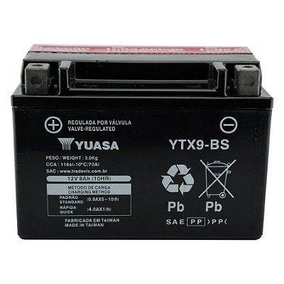 Bateria Yuasa YTX9-BS |12V - 8Ah| CB500 / VT600C Shadow / CB600 / CBR900RR / XJ/XT 600 / XTZ660 / VZ400 Burgman / GSX-R750 / FR900 /  ZX750K / KTM 400/620/640 / DAFRA Smart, Laser, Kansas 150