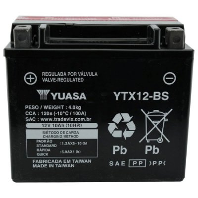 Bateria Yuasa YTX12-BS |12V - 10Ah| Shadow 750 / VFR750F / TDM800, BD, DC / GSX-R 1100W / VN900 / Vulcan 900