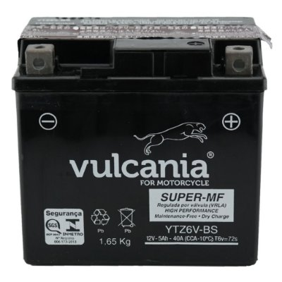 Bateria Vulcania YTZ6V-BS |12V - 5Ah| CG150 Titan / CG150 Fan /  NX150 Bros / CG125 / XRE300 / YBR125 Factor