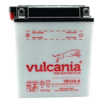 Bateria Vulcania YB12A-A |12V - 12Ah| Honda CB350, CB400 N, CB450 SR