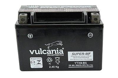 Bateria Vulcania YTX9-BS |12V - 8Ah| CB500 / VT600C Shadow / CB600 / CBR900RR / XJ/XT 600 / XTZ660 / VZ400 Burgman / GSX-R750 / FR900 / ZX750K / KTM 400/620/640 / DAFRA Smart, Laser, Kansas 150