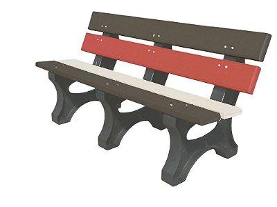 Banco Angra personalizado madeira plástica 1,50m marrom, vermelho e branco - Policog