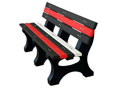 Banco Búzios personalizado madeira plástica 1,50m preto, vermelho e branco - Policog