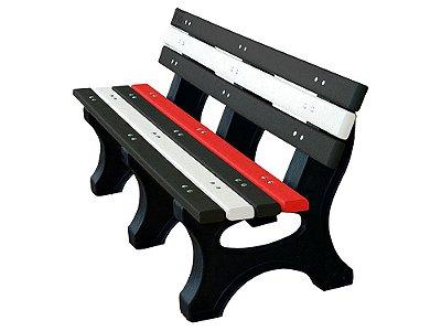 Banco Búzios personalizado madeira plástica 1,50m preto, branco e vermelho - Policog