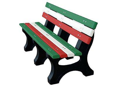 Banco Búzios personalizado madeira plástica 1,50m verde, branco e vermelho - Policog