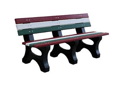Banco Búzios personalizado madeira plástica 1,50m vermelho, branco e verde- Policog