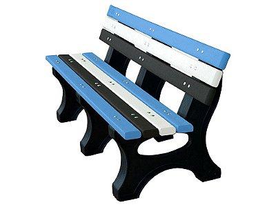 Banco Búzios personalizado madeira plástica 1,50m azul, branco e preto- Policog