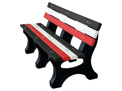 Banco Búzios personalizado madeira plástica 1,50m preto, branco e vermelho II - Policog