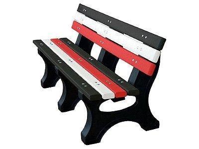 Banco Búzios personalizado madeira plástica 1,50m preto, branco e vermelho III - Policog