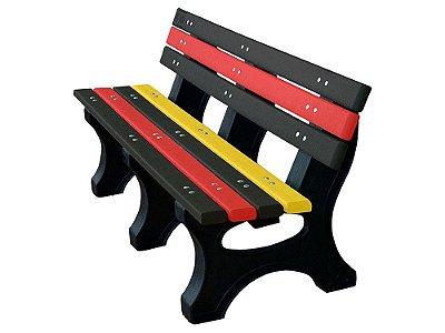 Banco Búzios personalizado madeira plástica 1,50m preto, vermelho e amarelo - Policog