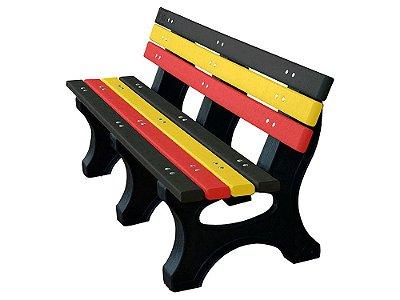 Banco Búzios personalizado madeira plástica 1,50m preto, amarelo e vermelho - Policog