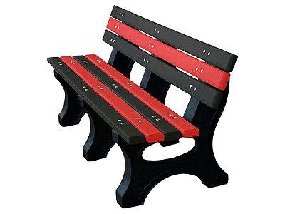 Banco Búzios personalizado madeira plástica 1,50m preto e vermelho - Policog