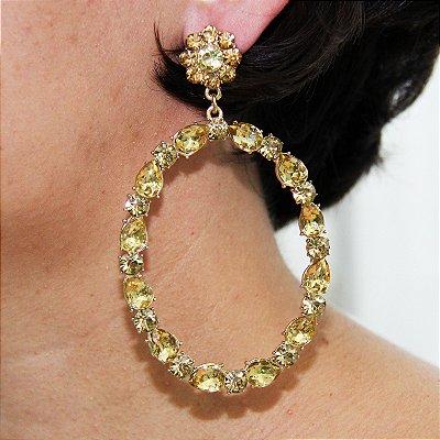 Maxi Brinco Oval – Pedras Amarelas