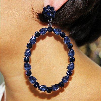 Maxi Brinco Oval – Pedras Azul