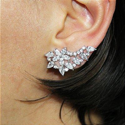 Brinco Ear Jacket com Navetes Prata