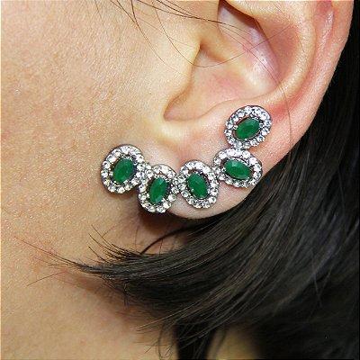 Brinco Ear Jacket Verde com Strass Prata