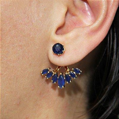 Brinco Ear Jacket com Navetes Prata e Azul