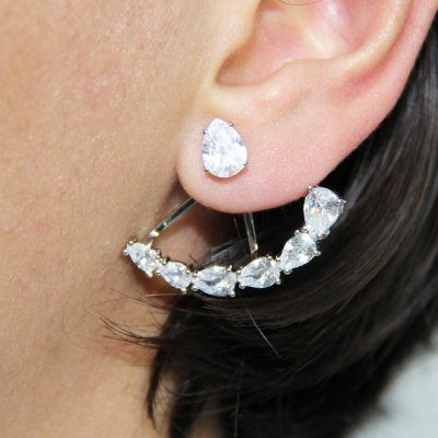 Brinco Ear Jacket com Navetes Prata e Vermelho