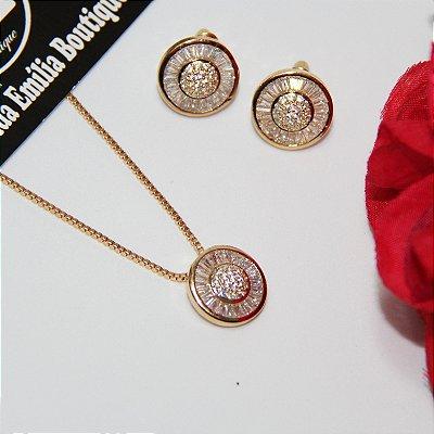 Conjunto Brincos e Colar Pizza com Micro Zircônias - Dourado e Ródio