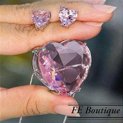 Conjunto Colar e Brincos Coração Cristal de Vidro