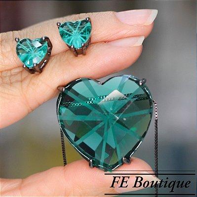 Conjunto Colar e Brincos Coração Cristal de Vidro Ródio
