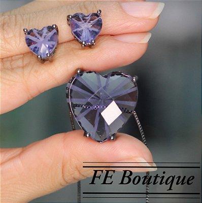 Conjunto Colar e Brincos Coração Cristal de Vidro - rodio negro - 2 cm