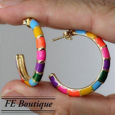 Brincos de Argolas Esmaltadas Coloridas - Rainbow