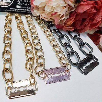 Colar Choker Corrente Gilete Pink Chain
