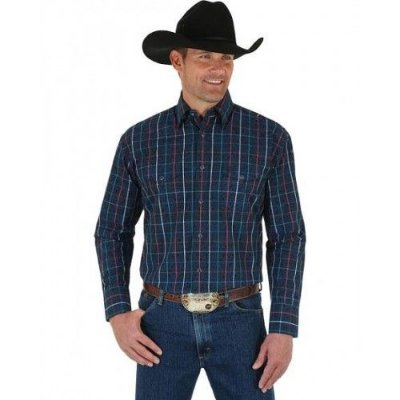 CAMISA WRANGLER GEORGE STRAIT MEN'S TROUBADOUR PLAID SHIRT