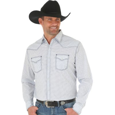 CAMISA WRANGLER 20X MEN'S WHITE/BLUE COMPETITION ADVANCED COMFORT