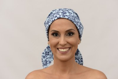 Lenço Quimioterapia Chapéu Azul Floral