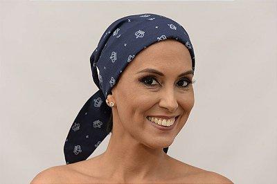 Lenço Quimioterapia Chapéu Azul Escuro Estampa Coroas