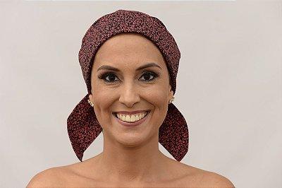 Lenço Quimioterapia Chapéu Preto com Rosa