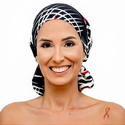 Lenço Quimioterapia Beanie Preto e Vermelho LIstrado