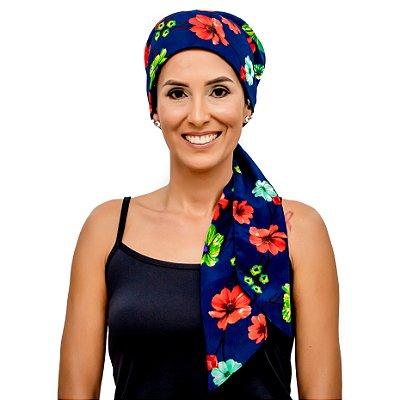 Lenço Quimioterapia Headscarf Azul Floral