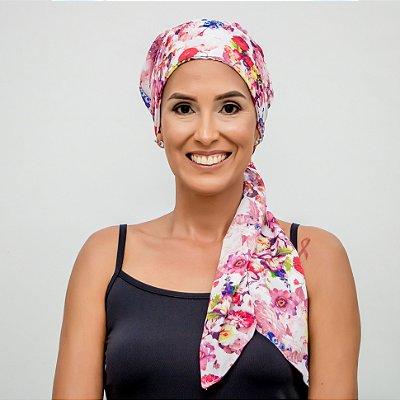 Lenço Quimioterapia Headscarf Branco Floral