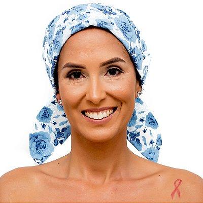 Lenço Quimioterapia Chapéu Branco Floral Azul