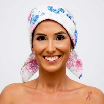 Lenço Quimioterapia Chapéu Branco Flores Do Campo
