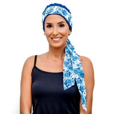 Gorrinho na Cor Desejada + Faixa Branco Azul Floral