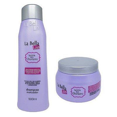 Kit Matizador Loira no Chuveiro (Shampoo 500ml + Máscara 500g) La Bella Liss