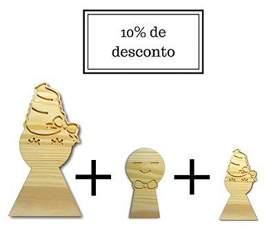 Enfeite promocional Boneca Adorvety e Adorvetinha e Junior