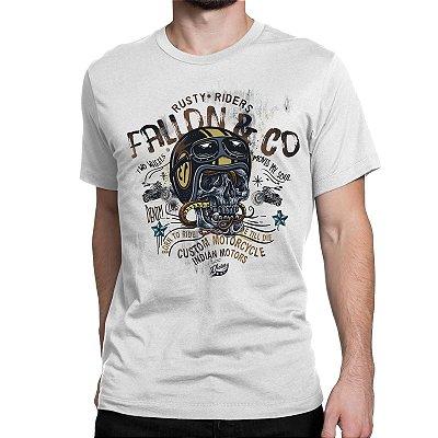 d0b9af724 Camiseta Masculina Fallon Born to Ride II Branca