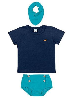 Conjunto Marlan Camiseta Curta Tapa Fralda Babador Marinho