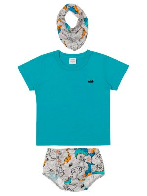 Conjunto Marlan Camiseta Curta Tapa Fralda Babador Turquesa