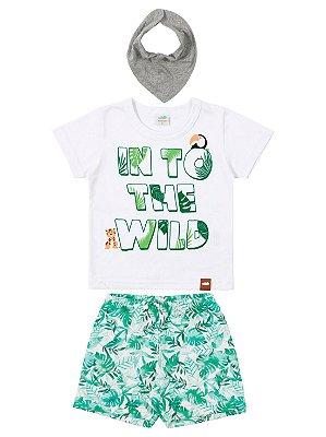 Conjunto Marlan Bebê Camiseta Curta Babador Bermuda Branco