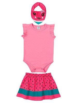 Conjunto para Bebê 3 peças Marlan Body Saia Babador Pink